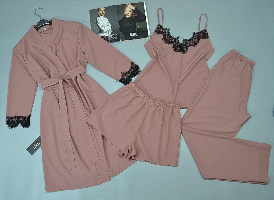 Комплект женской домашней одежды халат и пижама тройка 206-215 пудра.