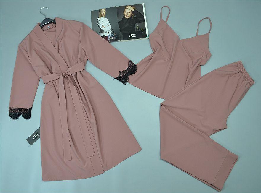 Халат и пижама ( майка+штаны) комплект тройка для сна и дома 206-200 пудра.
