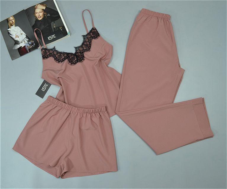 Комплект тройка для сна майка штаны и шорты Este 215 пудра.
