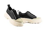 Женские кроссовки кожаные весна/осень бежевые-черные Best Vak 49-05, фото 1
