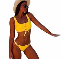 Купальник женский раздельный желтый на заклепках размер М, фото 1