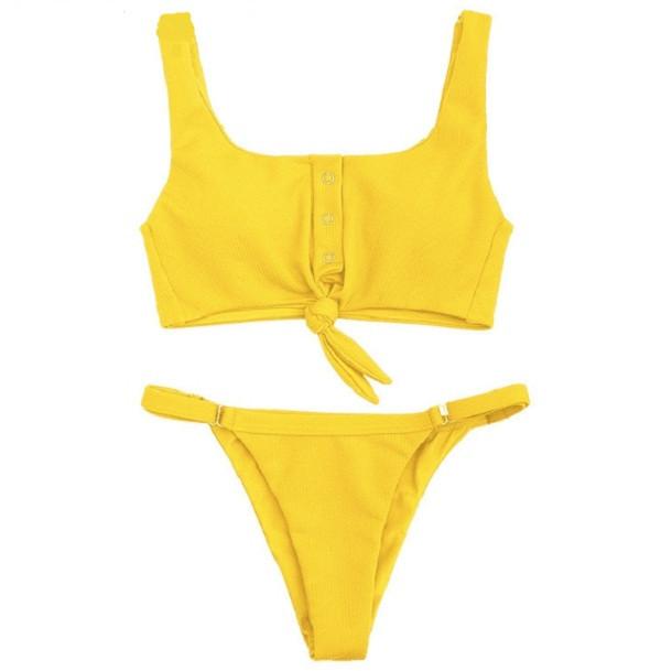 Купальник жіночий роздільний жовтий на заклепках розмір М