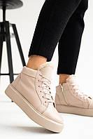 Женские ботинки кожаные зимние бежевые Yuves 141 на меху, фото 1