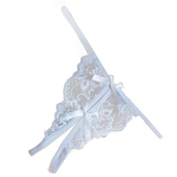 Кружевные трусики белые с разрезом
