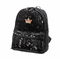 Черный рюкзак женский с пайетками