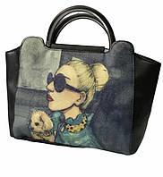 Женская городская сумка черная среднего размера, фото 1