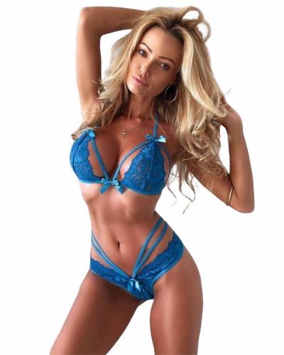 Нижнее белье женское кружевное синее размер М