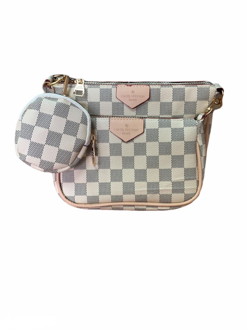 Сумка Луи Виттон белая шахматка в фирменном пакете