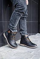 Мужские ботинки кожаные зимние черные Zangak 137 чор-кр, фото 1