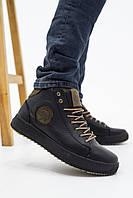 Мужские ботинки кожаные зимние черные-оливковые CrosSAV 335, фото 1