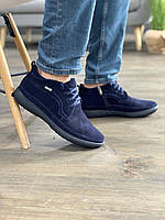 Мужские ботинки замшевые зимние синие Vankristi 928, фото 1