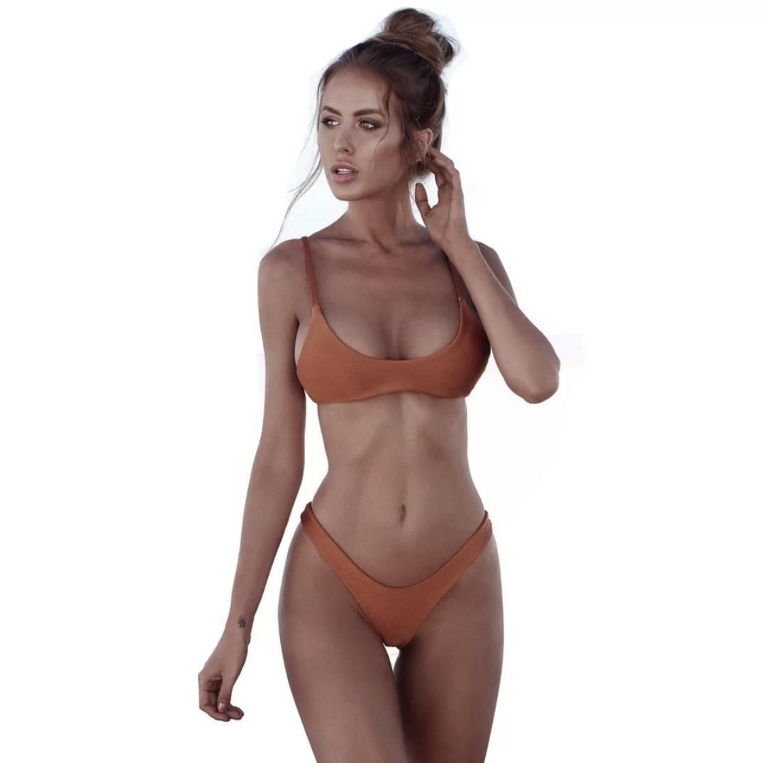 Женский купальник раздельный Бандо коричневый размер М