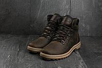 Мужские ботинки кожаные зимние коричневые-матовые Yuves 700, фото 1