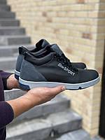 Мужские ботинки кожаные зимние черные-серые Lions EL, фото 1