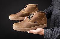 Мужские ботинки кожаные зимние оливковые Yuves 777, фото 1