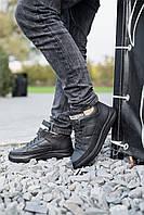 Мужские ботинки кожаные зимние черные Zangak 151 ч.мат+чн, фото 1