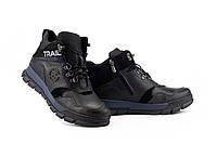 Подростковые ботинки кожаные зимние черные-синие Zangak 155 ч,кр+син, фото 1