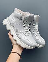 Женские кроссовки кожаные зимние белые-серые CrosSAV 50 Classic Leather Pearl, фото 1