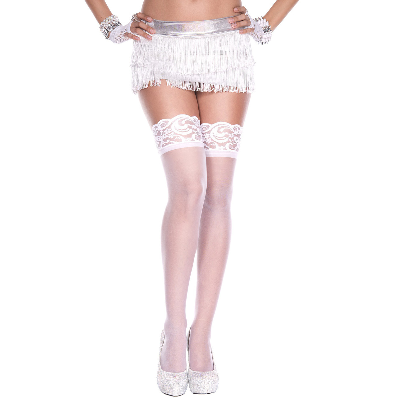 Чулки женские белые размер М