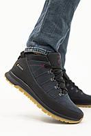 Мужские кроссовки кожаные зимние черные-синие Anser 101, фото 1