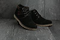 Мужские ботинки замшевые зимние черные Yuves 51, фото 1