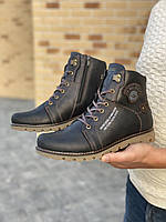 Мужские ботинки кожаные зимние черные Belvas 1631, фото 1