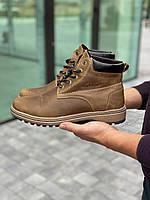 Мужские ботинки кожаные зимние оливковые Yuves 444, фото 1