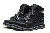 Мужские ботинки кожаные зимние черные CAT 101, фото 1