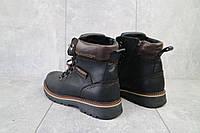 Мужские ботинки кожаные зимние черные Zangak 139 ч-крек, фото 1