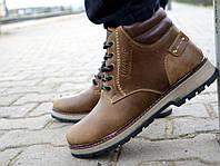 Мужские ботинки кожаные зимние оливковые Yuves 775, фото 1