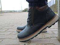 Мужские ботинки кожаные зимние черные-матовые Yuves 775, фото 1