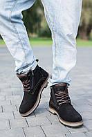 Мужские ботинки замшевые зимние черные Yuves 774, фото 1
