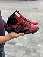 Подростковые кроссовки кожаные зимние красные-черные CrosSAV 307 Forest Grove