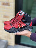 Подростковые кроссовки кожаные зимние красные-черные CrosSAV 317 Sport, фото 1