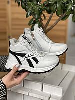 Детские кроссовки кожаные зимние белые-черные CrosSAV 12, фото 1