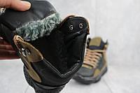 Подростковые кроссовки кожаные зимние черные-оливковые CrosSAV z 318, фото 1