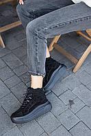 Женские ботинки замшевые зимние черные Best Vak БЖ-59-01Z, фото 1