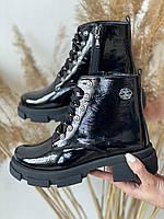 Женские ботинки кожаные весна/осень черные Best Vak БЖ32-01L На байке, фото 1