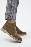 Женские ботинки замшевые весна/осень бежевые Yuves 305 байка, фото 1
