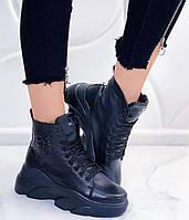 Женские ботинки кожаные зимние черные Best Vak БЖ 45/4-01, фото 1