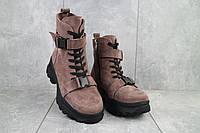 Женские ботинки замшевые зимние бежевые Mkrafvt C249, фото 1
