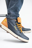 Мужские ботинки кожаные зимние синие-рыжие Lions EL, фото 1