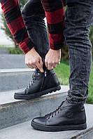 Мужские ботинки кожаные зимние черные Zangak 162 чл+чп, фото 1
