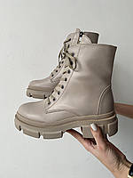 Женские ботинки кожаные весна/осень бежевые Mkrafvt 260 байка, фото 1