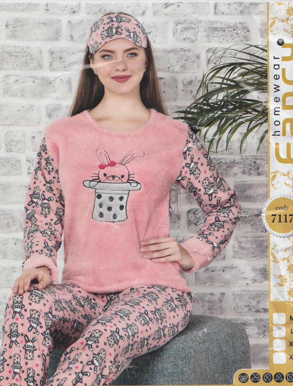 """Тепла жіноча флісова махрова піжама з пов'язкою""""Fancy"""" Туреччина Art:-7117"""