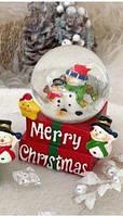 Новорічний куля скляний зі снігом № 110