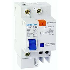 Дифференциальный автоматический выключатель DZ47LE-32 1PN C10 30mA, Chint