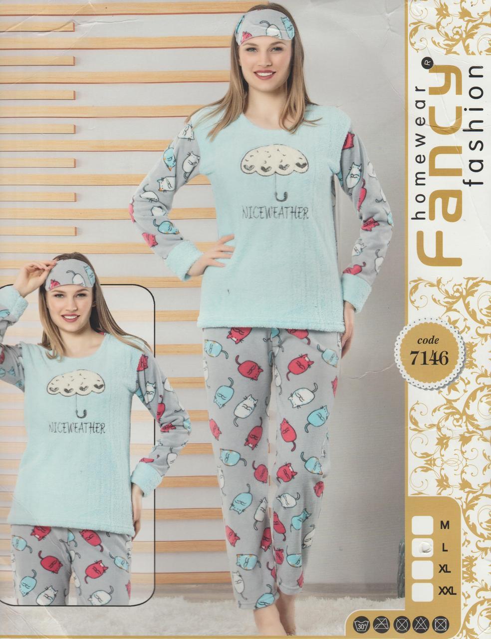 """Тепла жіноча флісова махрова піжама з пов'язкою""""Fancy"""" Туреччина Art:-7146"""
