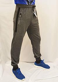Брюки спортивные мужские трикотажные под манжет Штаны спортивные со вставками 2XL Темно-серый