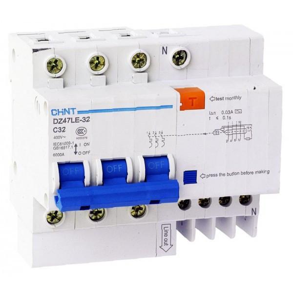 Дифференциальный автоматический выключатель DZ47LE-32 3PN C25 30mA, Chint